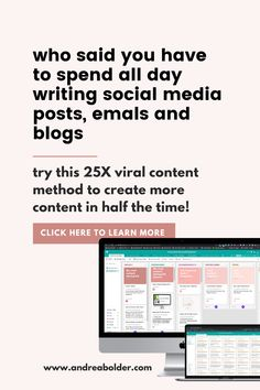 Don't have time to spend all day writing emails, social media posts, and blogs? Try the 25X viral content method to cut your content creation time in half and sell on social media without the sleaze factor! content marketing || content calendar | content strategy || social media || social media marketing || content || social media posts || facebook posts || pinterest || blog post titles || instagram captions || brand content || copywriting || coach|| online business || entrepreneur