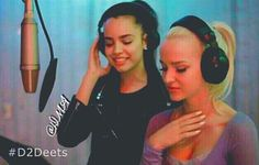 Sofia Carson and Dove Cameron recording Space Between for Descendants 2 that will be airing on 5 cable networks Disney Channel Disney XD Lifetime FreeForm and abc