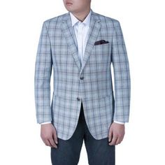 Verno Men's Light Blue Plaid Classic Fit Italian Styled Blazer, Size: 42R