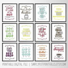 Funny Modern Kitchen Wall Art | Whip it, Whip it Good | Pour Some Sugar on me | They see me Rollin, They Hatin Printable | Hey Good Lookin