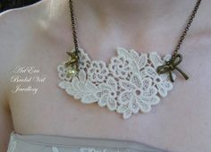 Vintage style Lace Necklace  Ivory Lace gold chain by ArtEraBridal