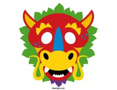 Chinese Dragon Mask Templates Including A Coloring Page Version Of The Free Printable PDF