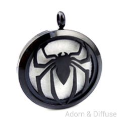 Spider Diffuser Locket Necklace ~ Black