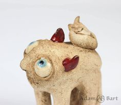 Cute Monster / Fox / Statuette / Creepy Monster / Unique / Sculpture / Figurine / Hand Made / Ceramics / Clay / Gift for Her / (245) by Euble on Etsy