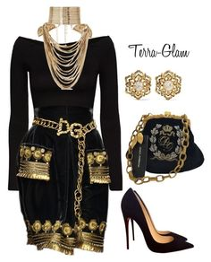 Black Royalty by terra-glam on Polyvore featuring polyvore fashion style Torn by Ronny Kobo Christian Louboutin Dolce&Gabbana Rosantica Fred Leighton clothing