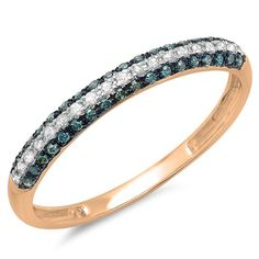 0.25 Carat (ctw) 14k Gold Round Blue and White Diamond Ladies Pave Set Anniversary Wedding Band Stackable Ring 1/4 CT -- New and awesome product awaits you, Read it now  : Wedding Rings Jewelry