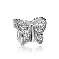 White Butterfly Birthstone Charm 925 Sterling Silver Pandora Compatible