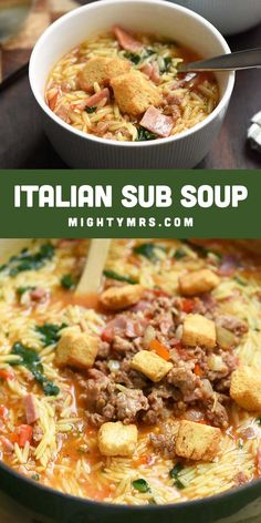 Italian Sub Soup with Orzo Pasta - If you love Italian subs, you'll love this hearty soup! Made with sweet Italian sausage, ham, pepperoni, spinach, tomoatoes and bell peppers then topped with croutons. Super easy to prep and everything cooks in one pot on the stove top in less than 30 minutes. Makes plenty so feed a crowd or take extras for lunch. An easy dinner idea that's always a crowd pleaser. Meat-lovers soup! Spinach Recipes, Healthy Soup Recipes, Cooking Recipes, Thm Recipes, Rice Recipes, Healthy Food, Yummy Food, Orzo Soup, Sweet Italian Sausage