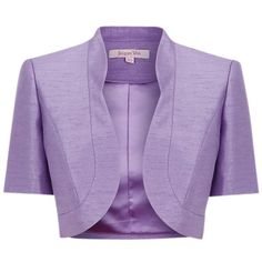 Jacques Vert Lavender Bolero, Purple ($39) ❤ liked on Polyvore featuring outerwear, jackets, bolero, blazers, purple, purple bolero jacket, purple shrug, blazer jacket, purple blazer and cropped bolero jacket
