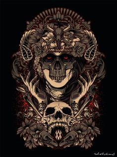 "noichitat: ""by Vicky Agus Kurniawan "" Skull Artwork, Metal Artwork, Arte Horror, Horror Art, Sketch Tattoo Design, Satanic Art, Arte Obscura, Dark Art Drawings, Skeleton Art"