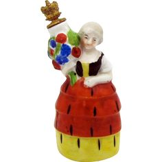 Vintage German Crown Top Perfume Bottle Woman with Urn in Four Tier from charmalier on Ruby Lane