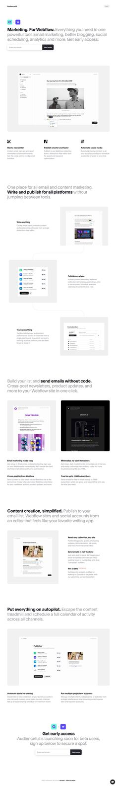 Clean design with crisp screenshots in this launching soon page for upcoming Webflow marketing toolkit Audienceful.