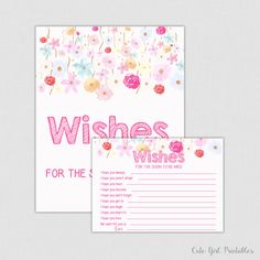 Wishes for the Soon to Be Mrs Game - Floral & Flowers Printable Bridal Shower Wishes for the Bride to Be - Fuchsia Pink Floral 0005W