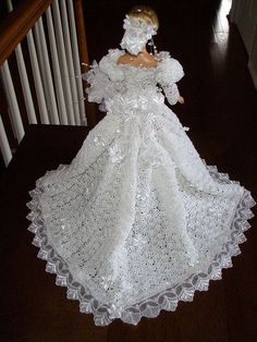 Free crochet barbie wedding dress barbie crocheted wedding gown by amanda jane Dress Barbie, Barbie E Ken, Barbie Wedding Dress, Wedding Doll, Barbie Doll, Doll Dresses, Girls Dresses, Crochet Doll Dress, Crochet Barbie Clothes