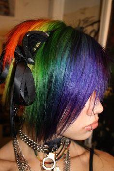 short Rainbow Dyed Bob