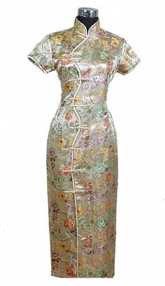 New Gold traditionnelle chinoise femmes robe de soie longues mince Cheongsam Qipao col Mandarin taille S M L XL XXL XXXL Col Mandarin, Mandarin Collar, Gold Evening Dresses, Traditional Dresses, Traditional Chinese, Cheongsam Dress, Kimono, Daily Dress, Ball Gown Dresses