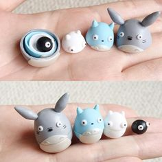 Made a totoro nesting doll set today. They actually stack within each other :) by polymomotea