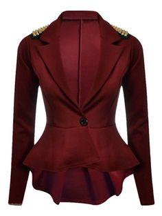 New Womens Plus Size Gold Studded Peplum Blazer Jacket Womens Spike Jacket 8-24 ( Wine , US - 4) Xclusive Collection. So lux! http://www.amazon.com/dp/B00K2R9YE4/ref=cm_sw_r_pi_dp_DnJjub1W67PCG