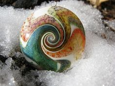 polymer clay swirl pendant - rainforest by cmc designs