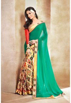 Party Wear Half Half Fancy Saree with lace border
