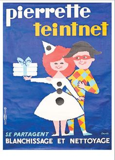 Vintage French Advertising Poster Laundry PIERRETTETEINTNET by OMNES