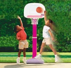 Little Tikes TotSports Easy Score Basketball - Girls by little Tikes. $37.55. Recommended Age: 3 - 10 years. Our Little Tikes TotSports Easy Score Basketball - Girls is great for growing toddlers. The set can adjust 6 different heights from 2.5 to 4 feet tall! It includes an oversized rim and junior size basketball. It develops social and motor skills and coordination.The base can be weighted with sand bag for extra stability. (NOT INCLUDED)The Little Tikes Company, founde...