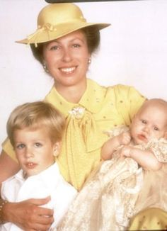 Princess Anne in the official Christening pictures of baby Zara in 1981, and on the left is her son Peter Phillips