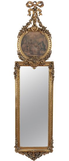 View this item and discover similar for sale at - Ornate gilded wood frame trumeau, hand carving of garland, roses and the Louis XVI style bow at top. Trumeau Mirror, Ornate Mirror, Old Mirrors, Vintage Mirrors, Mirror Mirror, Louis Xvi, Beautiful Mirrors, Objet D'art, Through The Looking Glass