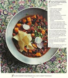 Slow-Cooker Vegetarian Chili with Sweet Potatoes - from January 2011 Real Simple Magazine