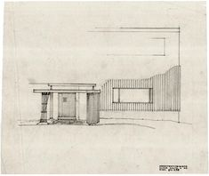 Alvar Aalto - Villa Mairea - Sketch for entrance. Architecture Visualization, Architecture Drawings, Architecture Plan, Alvar Aalto, Cool Drawings, Beautiful Drawings, Library Drawing, Nordic Classicism, Architect Drawing