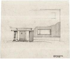 Alvar Aalto - Villa Mairea - Sketch for entrance.