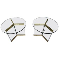 """Marvelous Pair of Glass and Brass """"Channel"""" Tables Made by Brueton  C. 1970s   From a unique collection of antique and modern side tables at https://www.1stdibs.com/furniture/tables/side-tables/"""