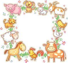Moldura Quadrada com animais de quinta - ilustração de arte vetorial