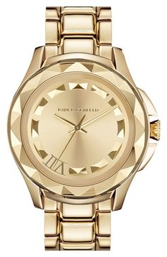 KARL LAGERFELD '7' Beveled Bezel Bracelet Watch, 44mm