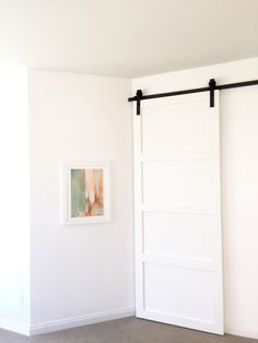 DIY barn door - modern shaker style, White Moderne Barn Door