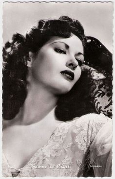 https://flic.kr/p/BsVVQX | Yvonne De Carlo | French postcard by Editions P.I., Paris, no. 298. Photo: Universal. Yvonne De Carlo (1922–2007) was a Canadian American actress, singer, and dancer whose career in film, television, and musical theatre spanned six decades. Yvonne De Carlo was born Margaret Yvonne Middleton in 1922 in West Point Grey (now part of Vancouver), British Columbia. In 1940, she was first runner-up to Miss Venice Beach, and she also came fifth 1940s Miss California co...