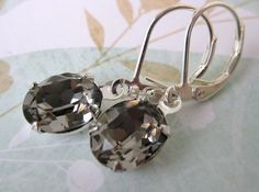 Black Diamond Vintage Rhinestone Earrings Grey Swarovs