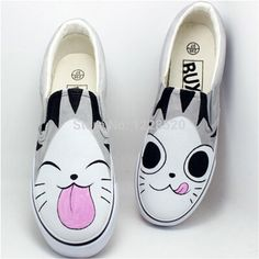 Discover recipes, home ideas, style inspiration and other ideas to try. Painted Canvas Shoes, Custom Painted Shoes, Painted Sneakers, Hand Painted Shoes, Painted Clothes, Custom Vans Shoes, Shoe Refashion, Kawaii Shoes, Cat Shoes