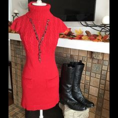 """Listing❣Red Cable Knit Sweater Dress ❤️Lovely color Red & Very Flirty styling on this lean, long-line Sweater Dress. Purchased from Boutigue. Features Cable-knit on Front Bodice & Cap Sleeves with a Deep Turtleneck. Small Pockets on Front hip area. Fabulous with tall Boots or ankle booties! Tag says M but fits more like a Small. Measures 34"""" L shoulder-hem; 14"""" at Bust (flat under arms) but has gentle stretch. Machine wash warm/Tumble Dry. This one is a Favorite! Worn only a few times and in…"""