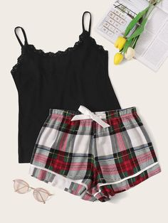 Shop Lace Trim Cami Top & Plaid Shorts PJ Set at ROMWE, discover more fashion styles online. Cute Pajama Sets, Cute Pajamas, Pajamas Women, Sexy Lingerie, Women Lingerie, Lingerie Sets, Purple Lingerie, Cute Sleepwear, Lingerie Sleepwear