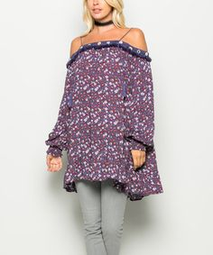 Look what I found on #zulily! Purple Off-Shoulder Tunic #zulilyfinds