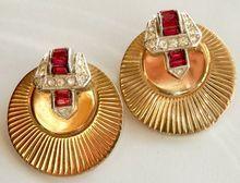 BOUCHER Gold-tone Disk Rhinestone Buckle Clip Earrings