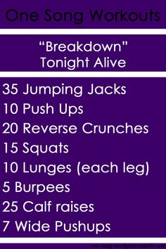 One song Workout - Breakdown - Tonight alive One Song Workouts, Workout Songs, Fit Board Workouts, Quick Workouts, Quick Workout At Home, At Home Workouts, Fitness Workouts, Reverse Crunches, Tonight Alive