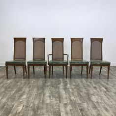 Set Of 5 Cane Back Dining Chairs
