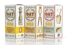 The design concept sketches were liked so much they were used for the 'hand-made' design of artisanal Oat biscuits. Illustration by Julian Roberts.