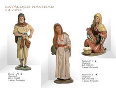 PASTOR Nº3, PASTORAS Nº2 y Nº1. Figuras de belén/pesebre, de terracota policromada, de 14 cm. Autor José Luis Mayo Lebrija.