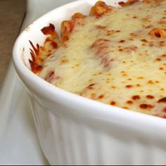 Baked Ziti Recipe - Easy Italian dish with tomato sauce and cheese.