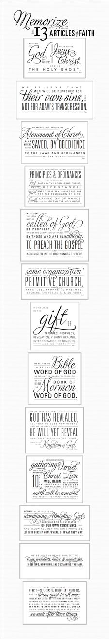 Articles of Faith | One of my 2013 goals is to memorize the Articles of Faith. These printables may be helpful!