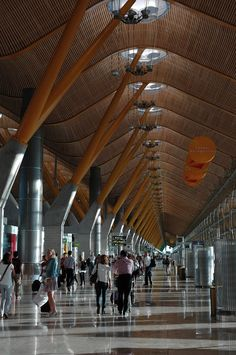AIRPORT by armando cuéllar on Barajas Airport in Madrid, Spain. Bus Station, Train Station, Airport Design, Architecture Details, Architecture Background, Spain And Portugal, Spain Travel, Wonders Of The World, Places To See