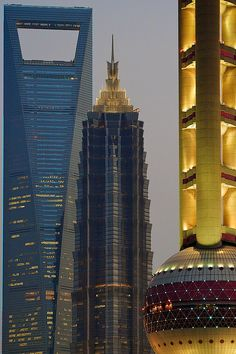 from left to right:  Shanghai World Financial Center  Jin Mao Tower  Oriental Pearl Tower
